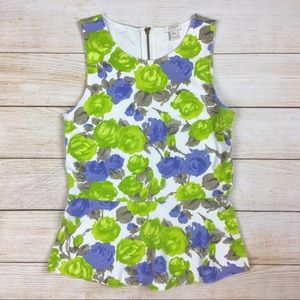 J. Crew floral peplum knit sleeveless top XXS